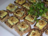Toasted walnut bread with blue cheese, roast pear and rocket pesto