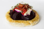 Roast beetroot goats cheese and caramelized onion tart